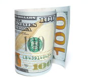 One hundred dollars and one dollar closeup on white background Stock Image