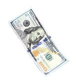 One hundred dollars and one dollar closeup on white background Royalty Free Stock Images