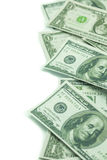 One hundred dollars and one dollars pile Stock Photos