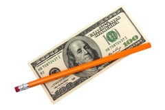 One hundred dollars and pencil Stock Photo