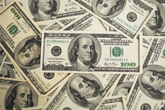 One hundred dollars pile as background. Stock Photography
