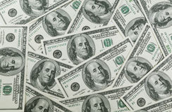 One hundred dollars pile Stock Photography