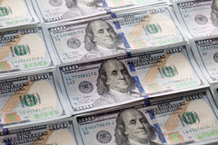One hundred dollars pile as background Royalty Free Stock Image