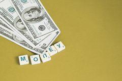 One hundred dollars pile as background. royalty free stock image
