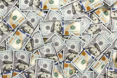 One hundred dollars pile as background Royalty Free Stock Photos