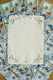 One hundred dollars pile as background frame for text Stock Photo