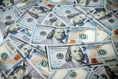 One hundred dollars pile as background Royalty Free Stock Images