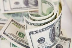 One hundred dollars pile Royalty Free Stock Photos