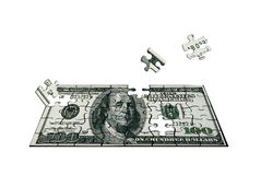 One hundred dollars of the puzzle Royalty Free Stock Images