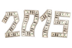 One hundred dollars in shape of 2015. Stock Photos