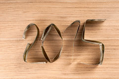 One hundred dollars in shape of 2015. Royalty Free Stock Images