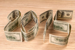 One hundred dollars in shape of 2015. Stock Images