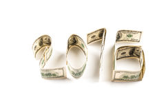 One hundred dollars in shape of word 2016. Stock Photos