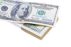 One hundred dollars stack isolated on white Royalty Free Stock Image