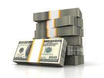 One hundred dollars stack on a white background Royalty Free Stock Images