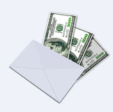 One hundred dollars under envelope Royalty Free Stock Images