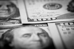 One Hundred Dollars. US One Hundred Dollar Bill Macro Stock Photos