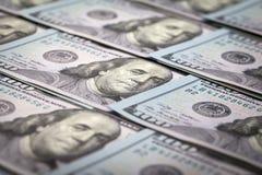 One Hundred Dollars. US One Hundred Dollar Bill Macro Stock Photo