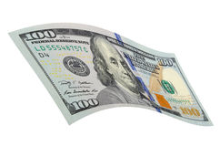 One hundred dollars on a white background. Stock Images
