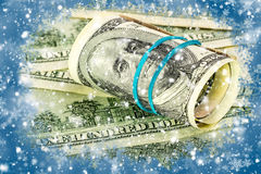 One hundred dollars on a winter background Stock Images
