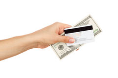 One hundred dollars in the woman`s hand, isolated Stock Photos