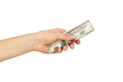 One hundred dollars in the woman`s hand, isolated Stock Images