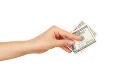 One hundred dollars in the woman`s hand, isolated Royalty Free Stock Photography