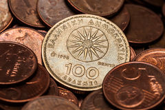 One Hundred Drahmas Coin Stock Photo