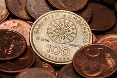 One Hundred Drahmas Coin Stock Photo