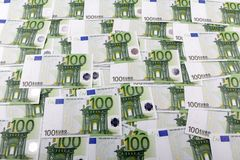 One hundred euro. A lot of one hundred euro banknotes as a background Royalty Free Stock Photo