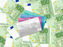 One hundred  euro background and credit card. Credit cards on one hundred euro banknotes background Stock Photography