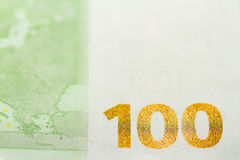 One hundred Euro banknote background close up Royalty Free Stock Photos