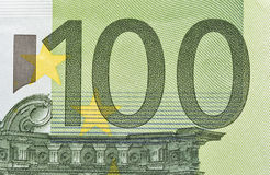 One hundred Euro banknote closeup Stock Photos