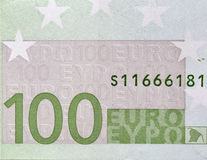 One hundred Euro banknote fragment closeup Royalty Free Stock Photography