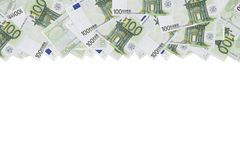 One hundred euro banknote texture background. Half of the background is filled with money bills of 100 euros. copy space. place. For text. the form for design stock photography