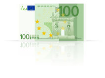 One hundred euro banknote. On a white background Royalty Free Stock Photo