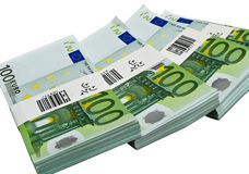 One hundred euro banknotes. Isolated on white Royalty Free Stock Images
