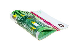 One hundred Euro banknotes. One hundred Euro banknotes isolated over white background Stock Photo