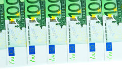 One hundred euro banknotes. Closeup Stock Images