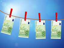 One hundred euro banknotes on clothesline Royalty Free Stock Photos
