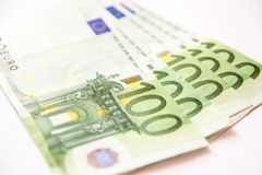 One hundred euro banknotes. One hundred euro currency banknotes, close up macro Royalty Free Stock Photos