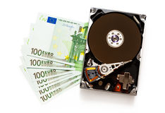 One hundred euro banknotes and hardisk Stock Photos