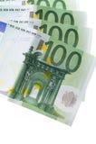 One hundred euro banknotes isolated on white. The one hundred euro banknotes isolated on white Royalty Free Stock Image