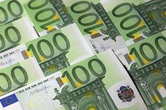 One hundred Euro Banknotes. Stack of one hundred Euro banknotes Stock Photos