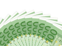 One hundred euro banknotes. One hundred banknotes on a white background stock illustration
