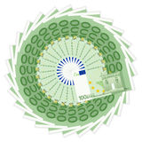 One hundred euro banknotes. One hundred banknotes on a white background vector illustration