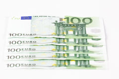 One hundred euro banknotes. On white background Royalty Free Stock Photos