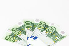 One hundred euro banknotes. On white background Stock Photos