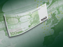 One hundred euro bill collage with green tone Stock Image