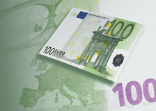 One hundred euro bill collage with green tone Stock Photography